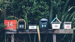 A line of mailboxes