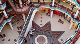 Shopping mall with escalator