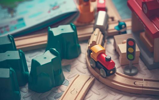 A wooden train set