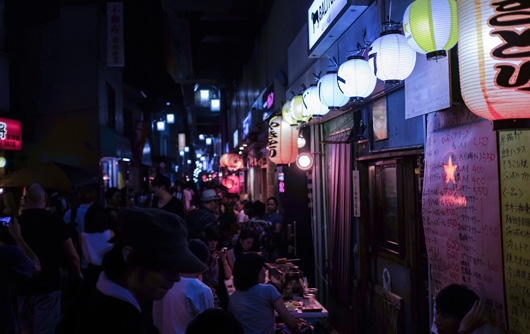 Street food market in japan at night