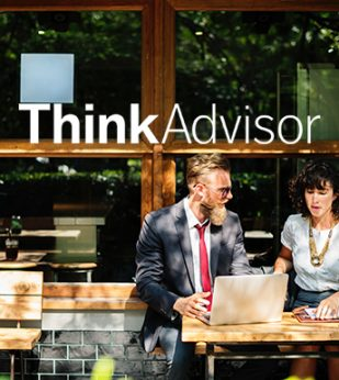 Think Advisor logo overtop client meeting outside with two people