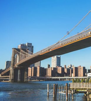 A view from below the Brooklyn Bridge