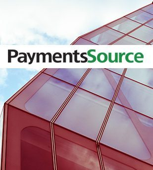 Payments Source logo overlayed on glass building