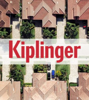 Kiplinger logo overlay-ed on image of houses