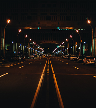 urban road at night