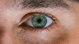 Close up of a man's green eye