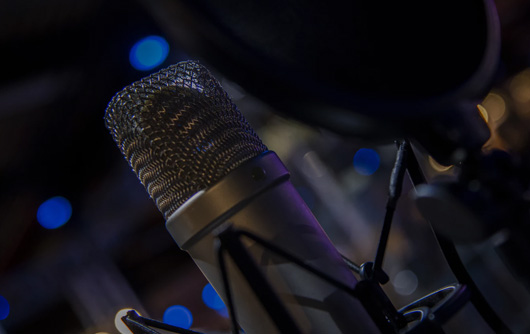 Up close of a radio microphone
