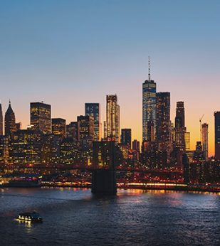 NYC lit up at night