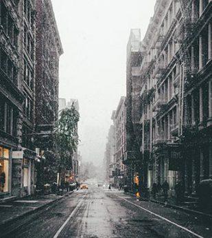 snowy urban street