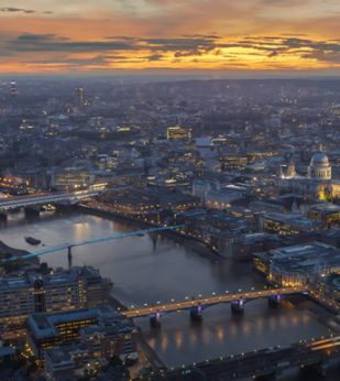 A view over London at sunset