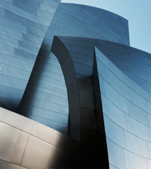 Blue, abstract wavy building