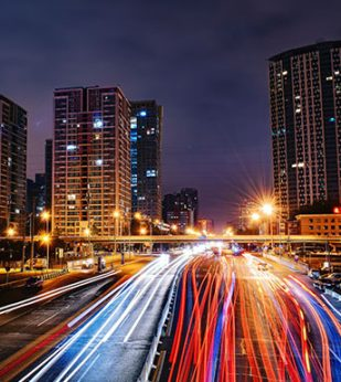 Light trails time lapse in Beijing, China