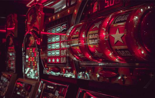 Red slot machines in a casino