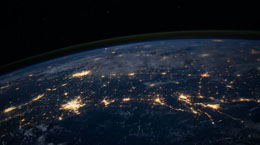 Lights in cities on the Earth from space