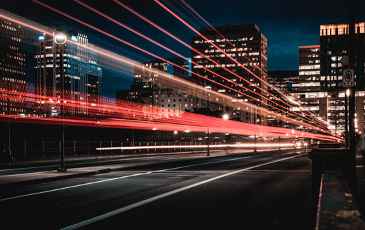 Light trails from cars in a city