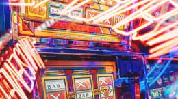 Bright lights on a slot machine