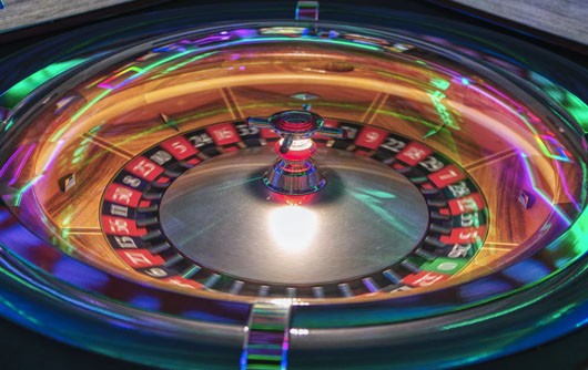 A time lapse of a spinning roulette wheel