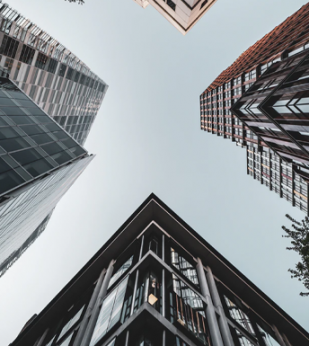 View looking up at buildings