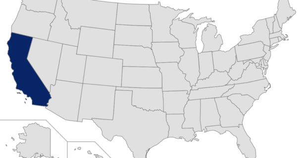 Map of the United States with California highlighted