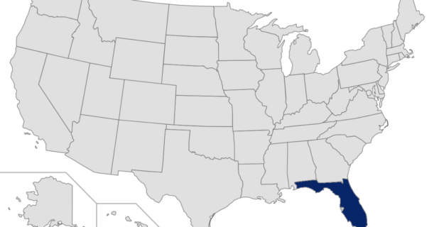 Map of the United States with Florida highlighted