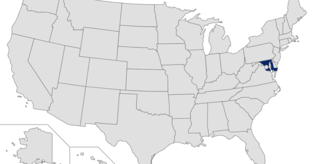 Map of the US with Maryland highlighted