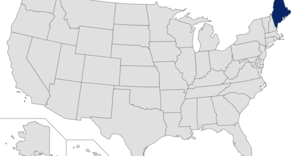 Map of the United States with Maine highlihgted