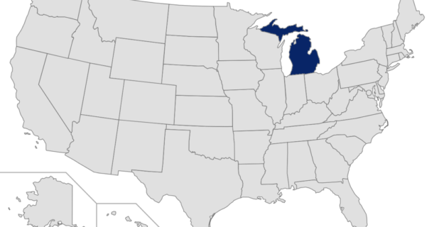 Map of the United States with Michigan highlighted