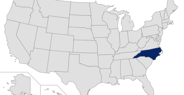 Map of the United States with North Caroline highlighted