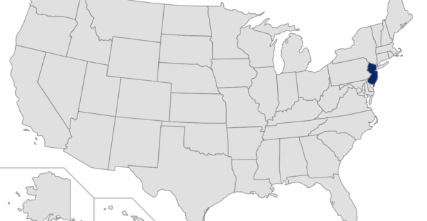 Map of the United States with New Jersey highlighted