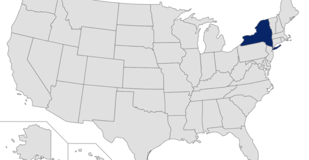 Map of the United States with New York highlighted
