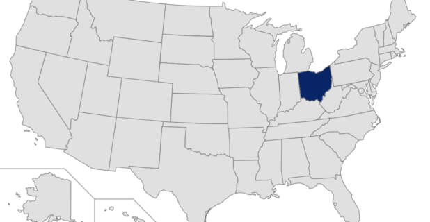 Map of the United States with Ohio highlighted