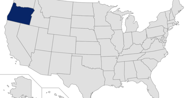 Map of the United States with Oregon highlighted