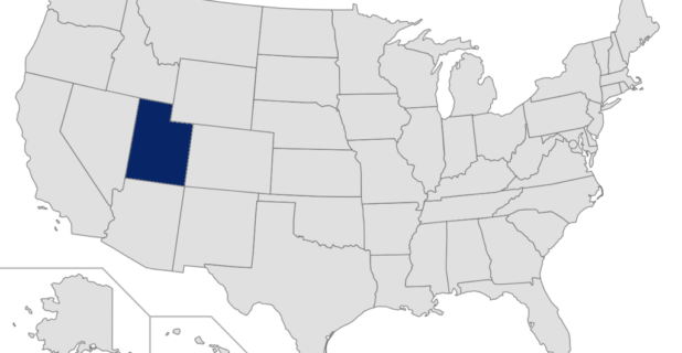 Map of United States with Utah highlighted