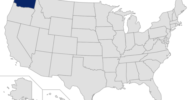 Map of US with Washington highlighted