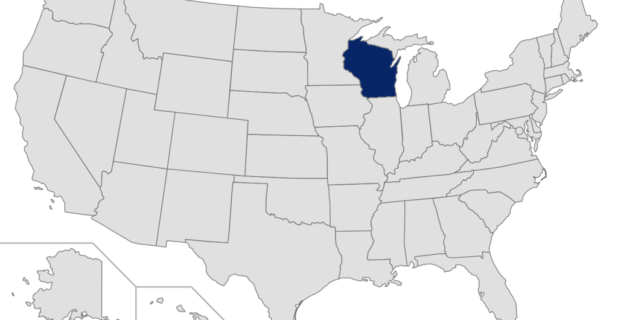 Map of United States with Wisconsin highlighted