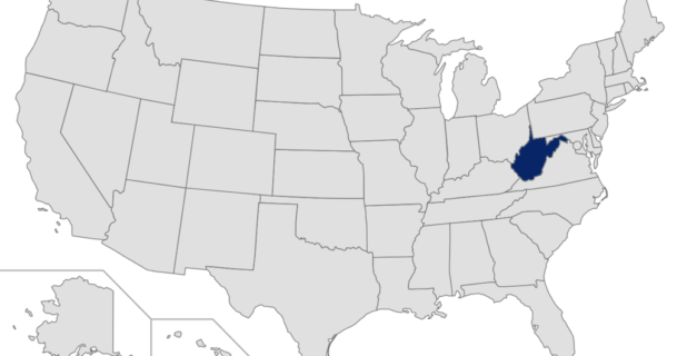 Map of US with West Virginia highlighted
