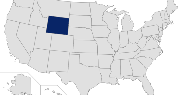 Map of United States with Wyoming highlighted