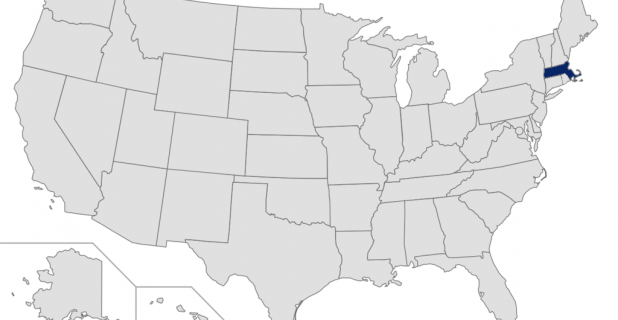 Massachusetts highlighted on map of the US