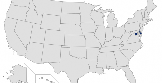Map of the United States with Delaware and DC highlighted